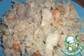 Бурый рис с куриным филе и шампиньонами