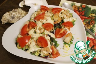 Салатный микс с креветками и овощами