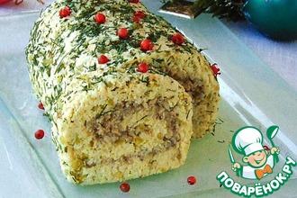Рождественский мясной рулет без выпечки
