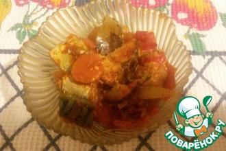 Скумбрия с овощами, запеченная в духовке