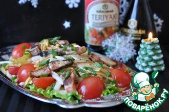"Салат с лососем ""Терияки"" и васаби-майонезом"