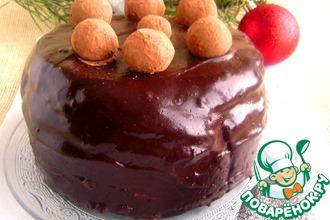 Торт фруктово-шоколадный с трюфельными шариками