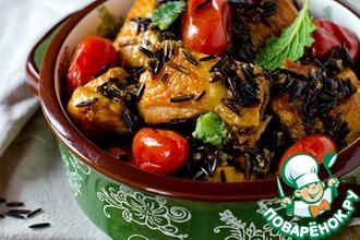 Курица с диким рисом и томатами черри
