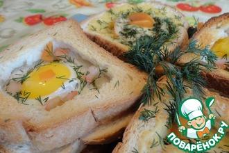 Горячие тосты с грибами и яйцом