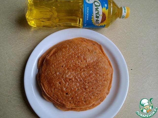 Подготовьте сковороду см шаг 5   http://www.povarenok .ru/recipes/show/102  553/     и выпекете блины.