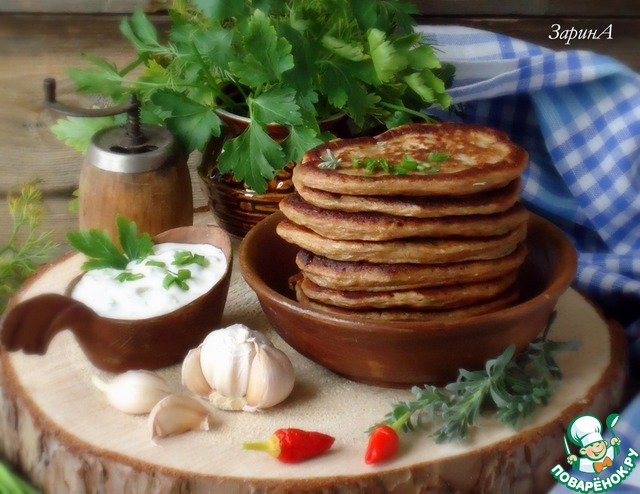 Готовые оладьи подать с соусом «тартар». Приятного!!