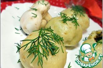 Картофельные шарики с рисом, грибами и горошком