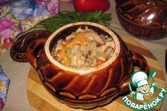 Горшочки с индейкой, овощами и грибами