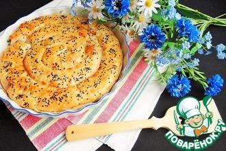 Пирог с рисом, луком-пореем и пармезаном