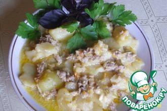 Картофель с фаршем и плавленым сырком