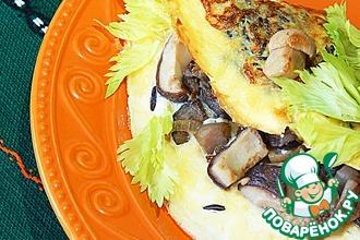Омлет с рисом, фаршированный белыми грибами