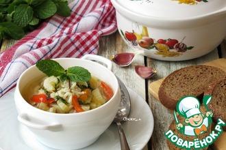Рисовый суп с овощами и мятой