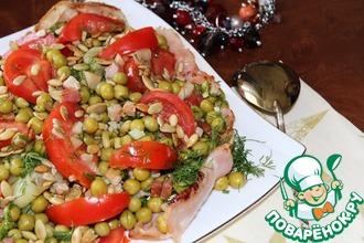 Салат из кабачков, зеленого горошка и бекона