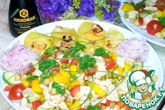 Овощной салат с курицей и нутом