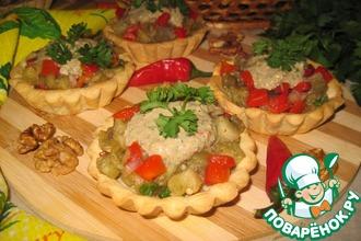 Салат с баклажанами в тарталетках