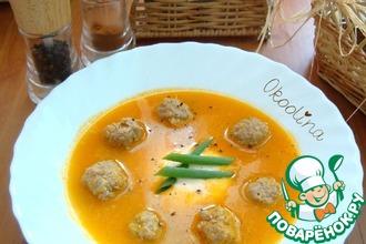 Суп-пюре томатный с фрикадельками и рикоттой