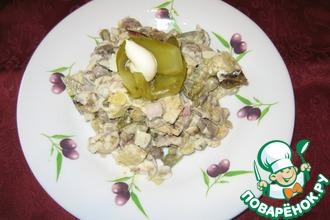Салат с куриными сердечками и баклажаном