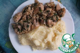 Курица с грибами со сливками и сыром
