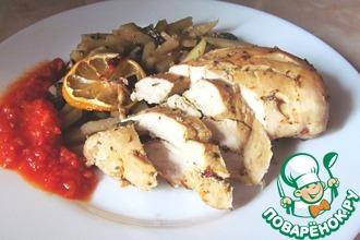 Запеченная куриная грудка с картофелем и грибами