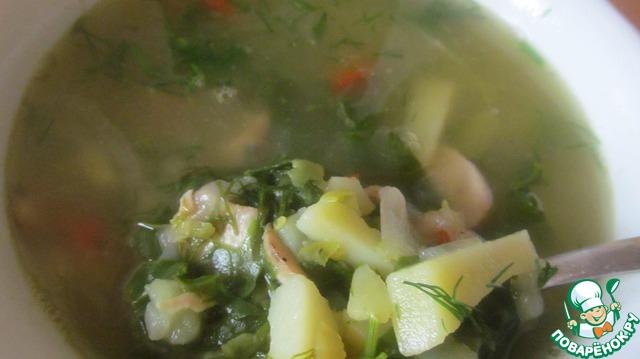 5. Перец, шпинат, укроп добавить в суп за 7 минут до конца.