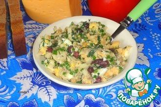Рыбный салат с красной фасолью