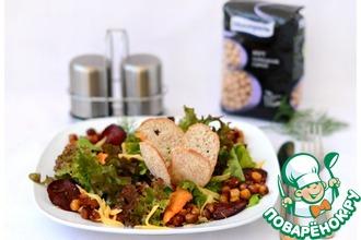 Салат с карамелизованным нутом и овощными чипсами