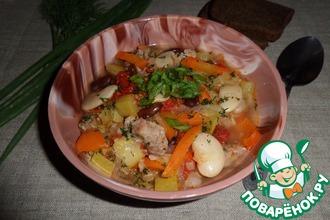 Овощное рагу с белой и красной фасолью