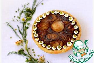 Пирог-перевертыш с зеленым горохом и луком