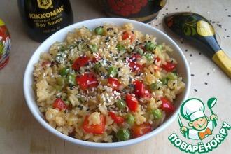 Рис с зеленым горошком и соевым соусом