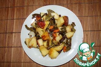 Запеченный картофель со стручковой фасолью