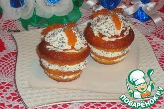 Слоеные кексы с творожно-яблочной начинкой