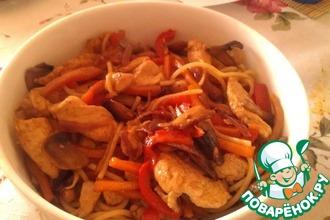 Курица терияки с пастой и овощами