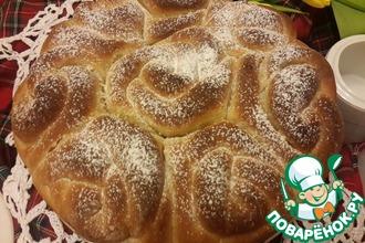 """Постный карамельный булочный пирог """"Букет роз"""""""