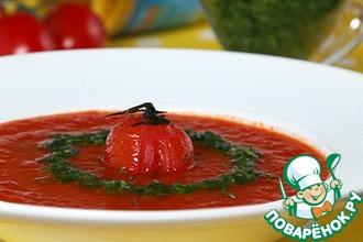 Суп из печеных томатов с песто