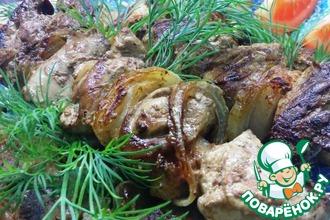 Шашлычки на сковороде из куриной печени