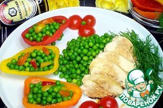 Куриное филе с зелёным горошком