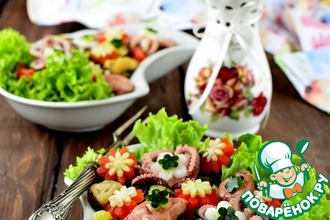 """Салат с фасолью и морепродуктами """"Первые цветы"""""""
