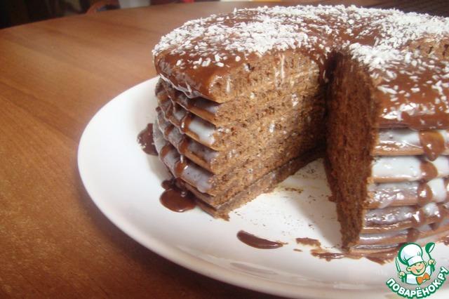 Вот пожалуйста утреннее фото в разрезе.       Коржи по вкусу очень похожи на мягкий бисквит.    Кто боится вкуса блинов - его тут нет вообще, торт получается мягкий, хорошо пропитывается, хорошо нарезается.