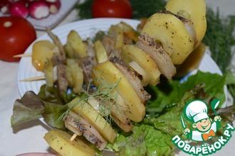 Картофельный кебаб с салом и луком-пореем