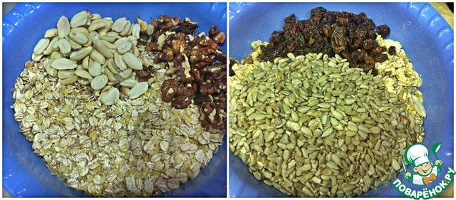 К хлопьям добавить арахис очищенный, грецкие орехи (можно не очищать), семечки подсолнуха, промытый изюм, щепотку соли и все тщательно перемешать.