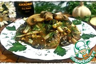 Теплый салат из шампиньонов и пекинской капусты