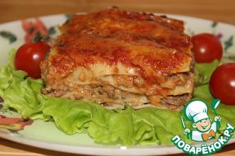 Лазанья с мясом и грибным соусом