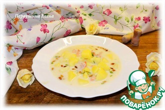 Суп из кижуча с кедровыми орешками
