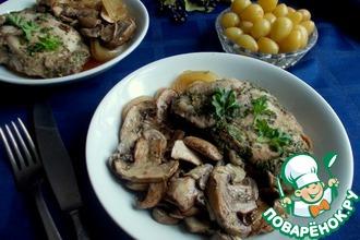 Свинина с шампиньонами в винно-соевом маринаде
