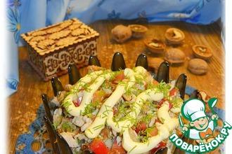 Салат с гречневыми оладьями и тархуном