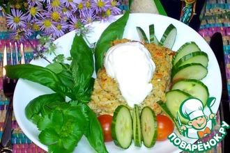 Овощная запеканка с рисом, курицей и моцареллой