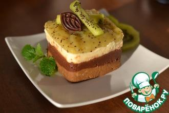 Шоколадный десерт с киви