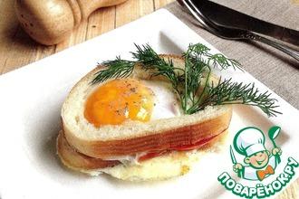 Вкусный бутерброд с яичницей в СВЧ