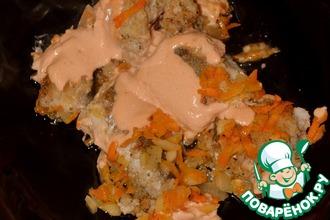 Хек, запечённый с морковью и луком