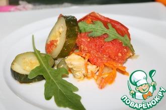 Рыба, запечённая с овощами в СВЧ